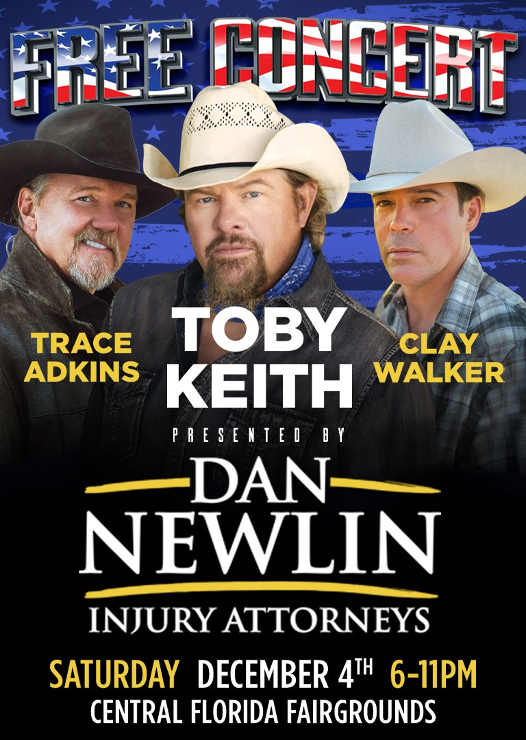 Dan Newlin Free Concert featuring Toby Keith, Trace Adkins, and Clay Walker